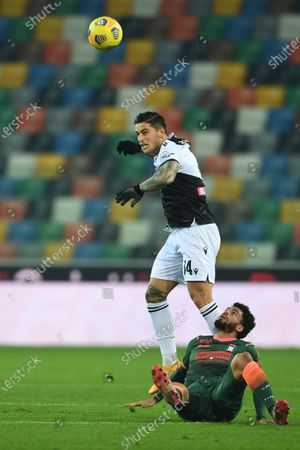 """Kevin Bonifazi (Udinese) Emmanuel Riviere (Crotone)           during the Italian """"Serie A"""" match between Udinese 0-0 Crotone  at  Dacia Stadium in Udine, Italy."""