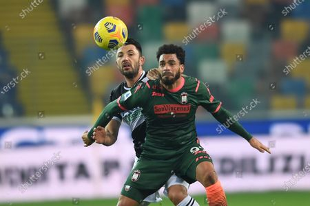 """Emmanuel Riviere (Crotone)Tolgay Arslan (Udinese)              during the Italian """"Serie A"""" match between Udinese 0-0 Crotone  at  Dacia Stadium in Udine, Italy."""