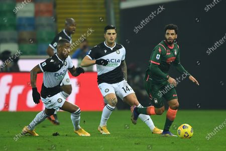 """Marvin Zeegelaar (Udinese)Kevin Bonifazi (Udinese) Emmanuel Riviere (Crotone)           during the Italian """"Serie A"""" match between Udinese 0-0 Crotone  at  Dacia Stadium in Udine, Italy."""