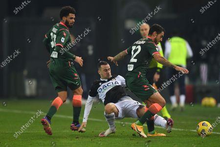 "Emmanuel Riviere (Crotone)Ilija Nestorovski (Udinese)Pedro Pereira (Crotone)           during the Italian ""Serie A"" match between Udinese 0-0 Crotone  at  Dacia Stadium in Udine, Italy."