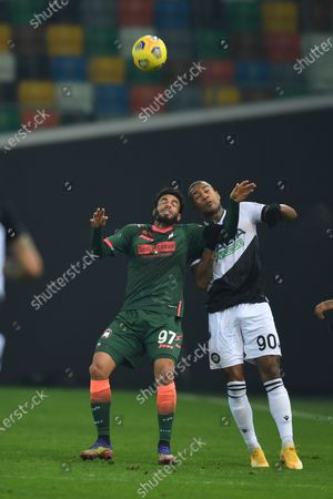 """Emmanuel Riviere (Crotone)Marvin Zeegelaar (Udinese)           during the Italian """"Serie A"""" match between Udinese 0-0 Crotone  at  Dacia Stadium in Udine, Italy."""