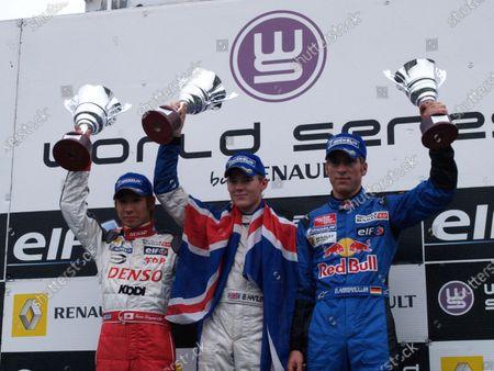 Race 2 Podium and result: 1st Benjamin Hanley (GBR) CRAM Competition, centre. 2nd Kamui Kobayashi (JPN) Prema Powerteam, left. 3rd Michael Ammermueller (GER) Jenzer Motorsport, right. Formula Renault 2.0 Italia, Rd8, Monza, Italy. 22-23 October 2005. DIGITAL IMAGE