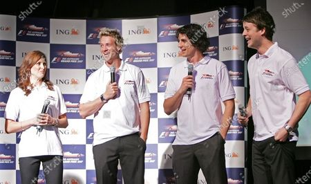 Celebrities Cristie Malthouse (AUS), Jules Lund (AUS) Andy Lee (AUS) and Hamish Blake (AUS)  Australian Grand Prix Announcement, Melbourne, Australia, 16 November 2006. DIGITAL IMAGE