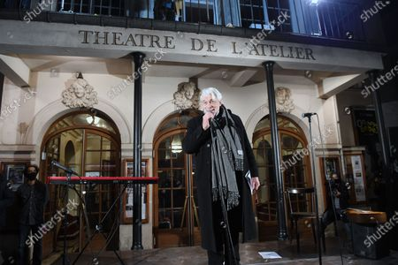 Stock Picture of Jacques Weber and Francois Morel during a rally in front of the Atelier theater in Paris to request the reopening of theaters and other cultural venues during the day of protest for culture.