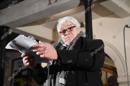 Jacques Weber and Francois Morel during a rally in front of the Atelier theater in Paris to request the reopening of theaters and other cultural venues during the day of protest for culture.