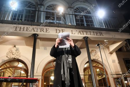 Stock Photo of Jacques Weber and Francois Morel during a rally in front of the Atelier theater in Paris to request the reopening of theaters and other cultural venues during the day of protest for culture.