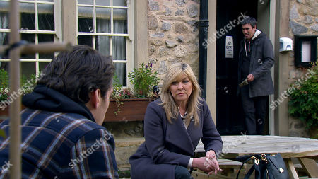 Emmerdale - Ep 8927 Tuesday 29th December 2020 Kim Tate, as played by Claire King, tells Mack, as played by Lawrence Robb, that he will be well rewarded if he takes Cain Dingle, as played by Jeff Hordley, down.