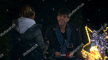 Emmerdale - Ep 8932 Thursday 31st December 2020 Marlon has company on New Year's Eve, as he spends the evening with Rhona. Pictured - Rhona Goskirk, as played by Zoe Henry ; Marlon Dingle, as played by Mark Charnock.