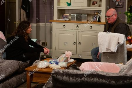 Emmerdale - Ep 8926 Monday 28th December 2020 Will Charity and Chas Dingle, as played by Lucy Pargeter, be able to patch things up? Also pictured - Paddy Kirk, as played by Dominic Brunt.