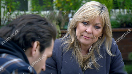 Emmerdale - Ep 8927 Tuesday 29th December 2020 Kim Tate, as played by Claire King, tells Mack, as played by Lawrence Robb, that he will be well rewarded if he takes Cain Dingle down.