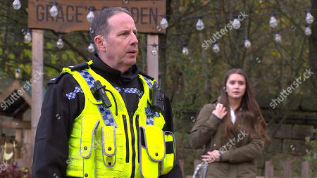 Stock Image of Emmerdale - Ep 8937 Thursday 7th January 2021 - 2nd Ep Sarah Sugden's, as played by Katie Hill, shocked to see Danny's helping Mason deal drugs but Danny talks his way around her and she asks Danny for one of his pills. Meanwhile, Chas isn't convinced by the denials of the stags and calls the police who conduct a drug search on them. Sarah then slips the pills she's in possession of into one of the stag's jackets. Will Sarah own up to this malicious act when the police find the drugs on him?