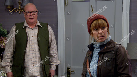 Stock Photo of Emmerdale - Ep 8936 Thursday 7th January 2021 - 1st Ep Marlon Dingle and Rhona Goskirk, as played by Zoe Henry, continue to misread one another's feelings until Paddy Kirk, as played by Dominic Brunt, arrives, will he reveal that their feelings are mutual?