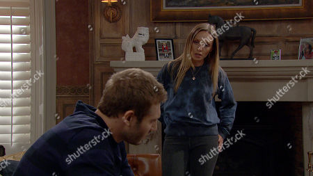 Emmerdale - Ep 8928 Wednesday 30th December 2020 Andrea Tate, as played by Anna Nightingale, tells Jamie Tate, as played by Alexander Lincoln, he can have Millie on New Year's Day, only on the condition that Kim isn't around.