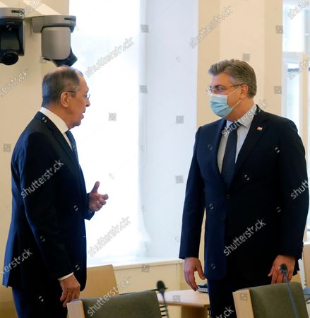 Croatian Prime Minister Andrej Plenkovic (R) welcomes Russian Foreign Minister Sergei Lavrov (L) during their meeting in Zagreb, Croatia, 16 December 2020. Russian Foreign Minister pays a working visit to Croatia.