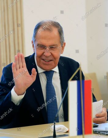 Russian Foreign Minister Sergei Lavrov gestures during a meeting with Croatian Prime Minister Andrej Plenkovic in Zagreb, Croatia, 16 December 2020. Russian Foreign Minister pays a working visit to Croatia.