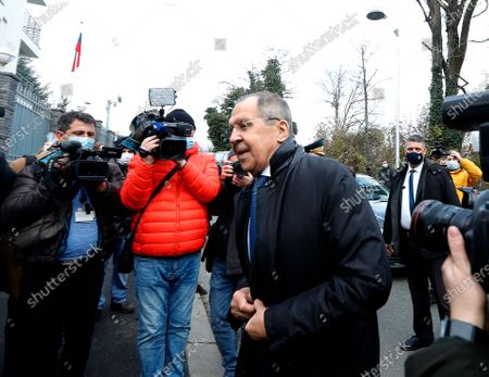 Russian Foreign Minister Sergei Lavrov (R) attends the opening of a new Russian Embassy in Zagreb, during his visit in Zagreb, Croatia, 16 December 2020. Russian Foreign Minister pays a working visit to Croatia.