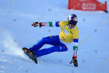 Roland Fischnaller (ITA); Carezza Ski Resort, Carezza, Italy; FIS World Cup Downhill Snowboarding Carezza.