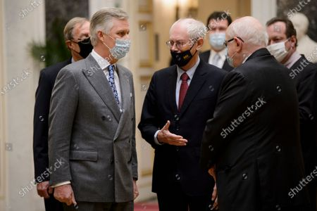 King Philippe - Filip of Belgium and Former Belgian Prime Minister Herman Van Rompuy pictured at a ceremony to award the 'Francqui-Collen Prize 2020', Wednesday 16 December 2020, in Brussels. The scientific prize, which is often referred to as the 'Belgian Nobel Prize', is awarded by The Francqui Foundation and is worth 250.000 euros.