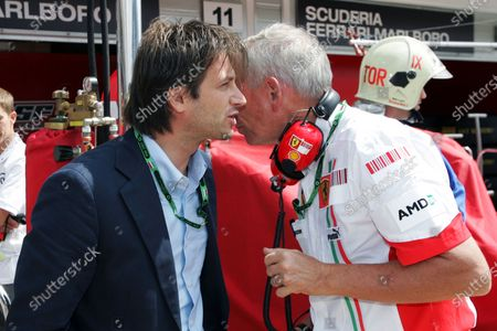 (L to R): Dany Bahar (TUR) Ferrari with Rory Byrne (RSA) Ferrari Chief Designer. Formula One World Championship, Rd 11, Hungarian Grand Prix, Qualifying Day, Budapest, Hungary, Saturday 4 August 2007.