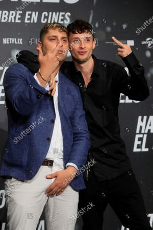 Rappers and cast members Dollar Selmouni (L) and Ajax pose for the photographers during the presentation of the film 'Hasta el Cielo' (Up to Heaven), directed by Daniel Calparsoro, at a hotel in Madrid, Spain, 16 December 2020. The film opens in Spanish cinemas on 18 December.