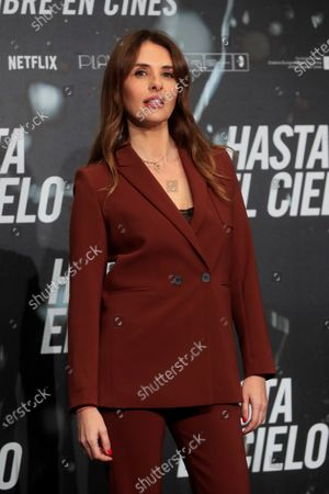 Stock Photo of Patricia Vico poses for the photographers during the presentation of the film 'Hasta el Cielo' (Up to Heaven), directed by Daniel Calparsoro, at a hotel in Madrid, Spain, 16 December 2020. The film opens in Spanish cinemas on 18 December.