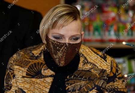 Princess Charlene of Monaco, wearing a protective face mask, attends the traditional Christmas tree ceremony at the Monaco Palace, as part of Christmas holiday season in Monaco, 16 December 2020.