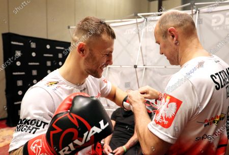 Polish middleweight boxer Kamil Szeremeta (L) prepares for a training session at the Seminole Hard Rock Hotel & Casino in Hollywood, Florida, USA, 15 December 2020 (issued on 16 December 2020). Szeremeta will fight Kazakhstan's Gennady Golovkin in their IBF Middleweight World Championship title bout on 18 December 2020. Szeremeta is the third Polish boxer who will have a chance to win the championship belt in this weight category.