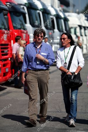 (L to R): Leopold Wieland (GER) Managing Editor of Auto Bild Motorsport Magazine and Ken Hensley (GBR) former band member of Uriah Heep. Formula One World Championship, Rd 13, Italian Grand Prix, Race, Monza, Italy, Sunday 9 September 2007.