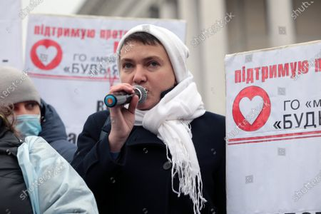 Stock Picture of Ukrainian politician Nadiya Savchenko delivers a speech as she joins the protest action of healthcare workers demanding more funding of medicine in the State Budget for 2021 in Maidan Nezalezhnosti, Kyiv, capital of Ukraine.