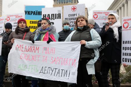 Editorial photo of Protest of healthcare workers in Kyiv, Ukraine - 16 Dec 2020