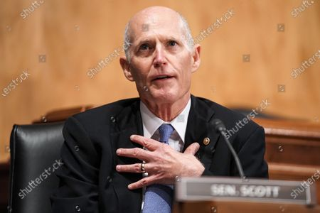 United States Senator Rick Scott (Republican of Florida) asks questions during a Senate Homeland Security & Governmental Affairs Committee hearing to discuss election security and the 2020 election process.