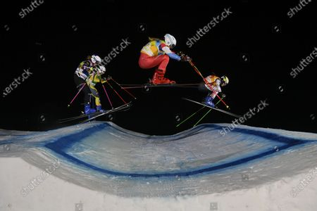 (L-R) Nikol Kucerova of the Czech Republic, Daniela Maier of Germany, Marie Karoline Krista of Switzerland, and Alizee Baron of France in action during the women's Ski Cross event of the Freestyle Skiing World Cup in Arosa, Switzerland, 16 December 2020.