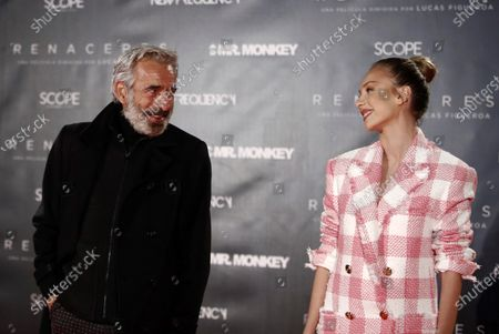 Stock Image of Imanol Arias (L) and Spanish actress Ester Exposito pose for the media during the preview of the documentary 'Renaceres' by Argentinian filmaker Lucas Figueroa in Madrid, Spain, 16 December 2020.
