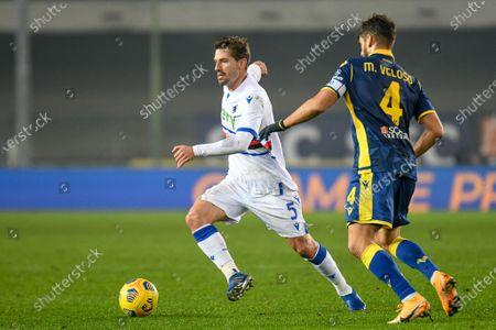 Adrien Silva (Sampdoria) fights for the ball against Miguel Veloso (Hellas Verona)