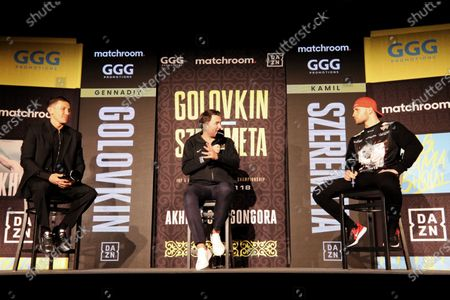 (R-L) Polish middleweight boxer Kamil Szeremeta, boxing promoter Eddie Hearn and Kazakhstan's Gennady Golovkin attend a press conference in Hollywood, Florida, USA, 16 December 2020. Szeremeta will fight Golovkin in their IBF Middleweight World Championship title bout on 18 December 2020.