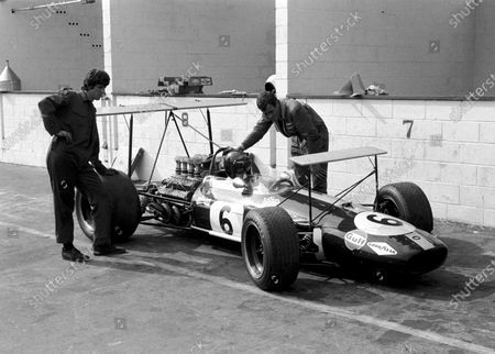 Stock Photo of Twin wing set up on Pole position man Jochen Rindt's(AUT) Brabham BT26. Note mechanic on left, Neil Trundle, Ron Dennis's partner in Rondel Racing, now working for Mclaren  Canadian GP, Mont Tremblant, 22 September 1968