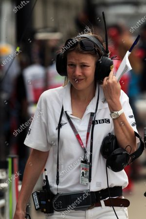 Temporary replacment for Natalie Pinkham (GBR) BBC Radio Five Live Pit Reporter Jennie Gow (GBR) BBC 5 Live Pit Lane Reporter. Formula One World Championship, Rd 7, Canadian Grand Prix, Qualifying Day, Montreal, Canada, Saturday 11 June 2011.