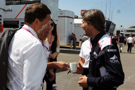 (L to R): Eric Besson (FRA) French Minister of Industry talks with Adam Parr (GBR) CEO Williams. Formula One World Championship, Rd 5, Spanish Grand Prix, Race Day, Barcelona, Spain, Sunday 22 May 2011.