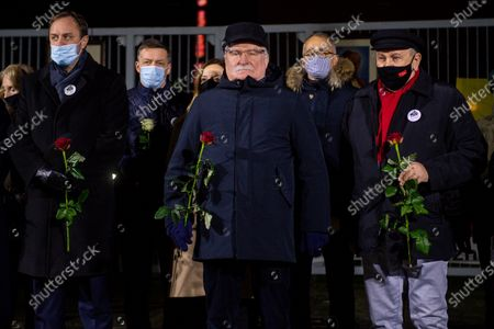 Marshal of Pomeranian Voivodeship Mieczyslaw Struk (L) and former President of Poland Lech Walesa (C) are seen during the celebrations of anniversary of December 1970. On December 14-22, 1970, there were riots and strikes due to the rise in retail food prices by the authorities. During these events 40 people were killed and more than 1,100 were injured. The largest workers strikes took place in Gdansk, Gdynia, Szczecin and Elblag. They were suppressed by the army and the militia.