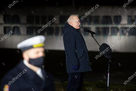 Stock Image of Former President of Poland Lech Walesa speaks during the anniversary of December 1970 in Gdansk. On December 14-22, 1970, there were riots and strikes due to the rise in retail food prices by the authorities. During these events 40 people were killed and more than 1,100 were injured. The largest workers strikes took place in Gdansk, Gdynia, Szczecin and Elblag. They were suppressed by the army and the militia.