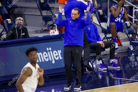Duke head coach Mike Krzyzewski reacts after his team turns the ball over during the second half of an NCAA college basketball game against Notre Dame, in South Bend, Ind. Duke won 75-65