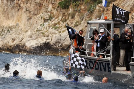 Pierre Frolla, Multi Record Holding Free Dive Champion, dives to retrieve the Monaco Grand Prix Chequered Flag from a depth of 60 metres. Formula One World Championship, Rd 6,  Monaco Grand Prix, Monte-Carlo, Monaco, Friday 27 May 2011.