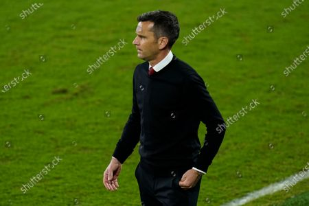 Atlanta United head coach Frank de Boer on the sidelines during the first half of a CONCACAF Champions League soccer match against Club America, in Orlando, Fla