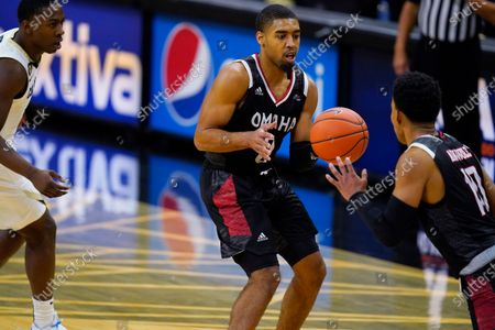 Omaha guard Sam'i Roe (0) in the second half of an NCAA college basketball game, in Boulder, Colo. Colorado won 91-49
