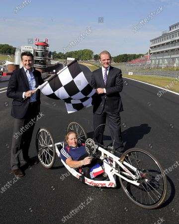 Lord Sebastian Coe (GBR) and Jonathan Palmer (GBR) MotorSportVision with with Olympic Gold Medalist gold medalist Rachel Morris (GBR) announce Brands Hatch as a Paralympics venue for cycling with Paralympic cyclist Rachel Morris (GBR). Brands Hatch announced as Paralympics Venue, Brands Hatch, 20 May 2011.
