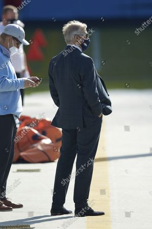 Denver Broncos general manager and president of football operations John Elway (right) on the sidelines prior to an NFL football game against the Carolina Panthers, in Charlotte, N.C