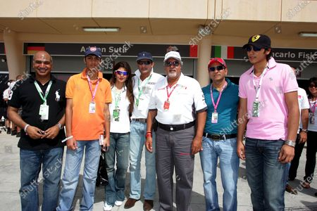 Dr. Vijay Mallya (IND) Force India F1 Team Owner with Mohammad Azharuddin (IND) Former Indian Cricket Captain and Sangeeta Bijlani (IND) Bollywood Actress, Quraish Dadabhai, CEO Dadabhai Group and guests. Formula One World Championship, Rd 3, Bahrain Grand Prix, Qualifying Day, Bahrain International Circuit, Bahrain, Saturday 5 April 2008.