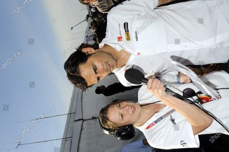 Pedro De La Rosa (ESP) Sauber is interviewed by Jennie Gow (GBR) BBC Radio 5 Live Pit lane reporter. Formula One World Championship, Rd 7, Canadian Grand Prix, Qualifying Day, Montreal, Canada, Saturday 11 June 2011.