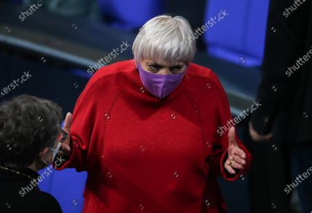 Green party member and Bundestag Vice-President Claudia Roth during a session of the German parliament 'Bundestag' in Berlin, Germany, 17 December 2020.