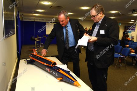 Richard Noble (GBR), Bloodhound Project Director, with a model of Bloodhound SSC. Bloodhound to test fire Britain's biggest hybrid rocket, Cosworth, Northampton, England, 3 March 2011.